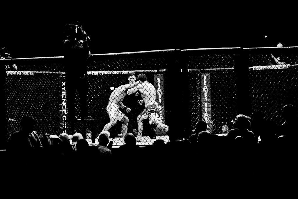 Jim Miller takes Kamal Shalorus during the Ultimate Fighting Championship UFC 128 at the Prudential Center.