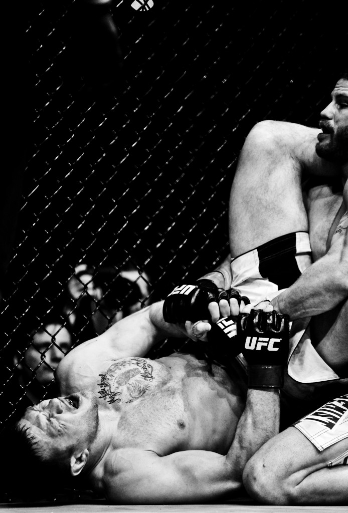 Nate Marquardt puts a hold on Dan Miller during the Ultimate Fighting Championship UFC 128 at the Prudential Center.