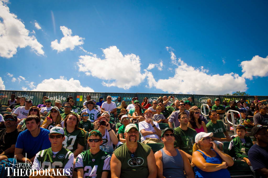 New York Jets fans during the second day of training camp at the practice facility in Florham Park New Jersey on Friday July 31th, 2015. by Andrew Theodorakis