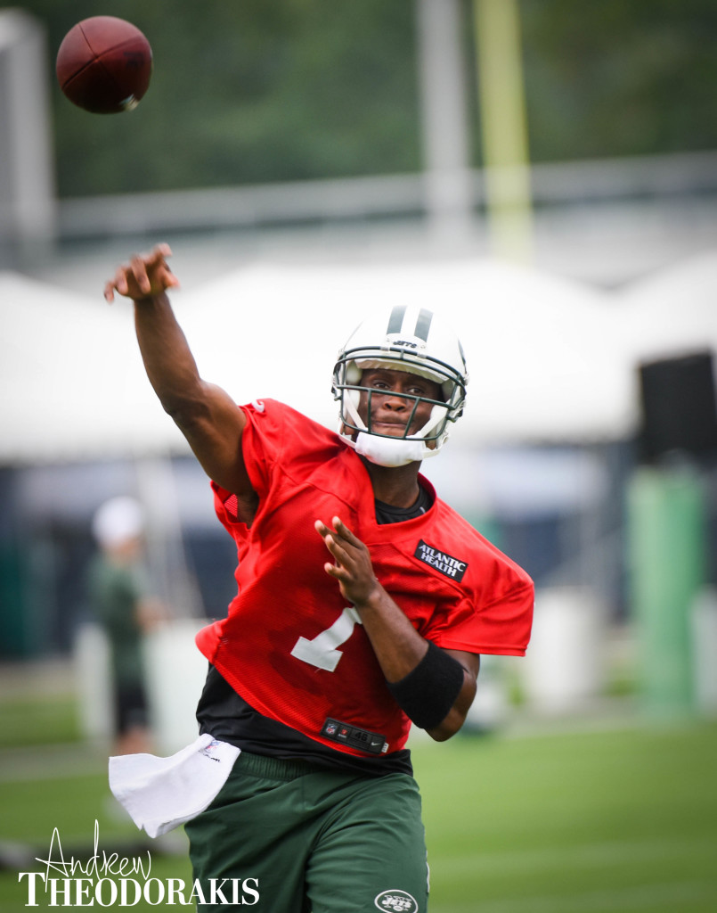 New York Jets quarterback Geno Smith (7) during the first day of training camp at the practice facility on Thursday July 30th, 2015. by Andrew Theodorakis