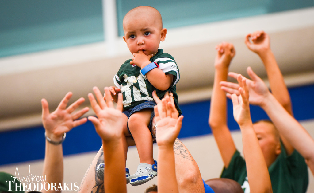 8/23/2015 Fans watch the New York Jets during practice at Hofstra University.