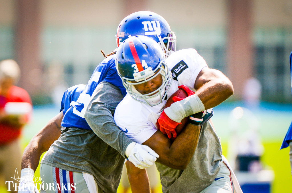 8/25/2015- New York Giants running back Shane Vereen (34) during practice at the Quest Diagnostic Center.