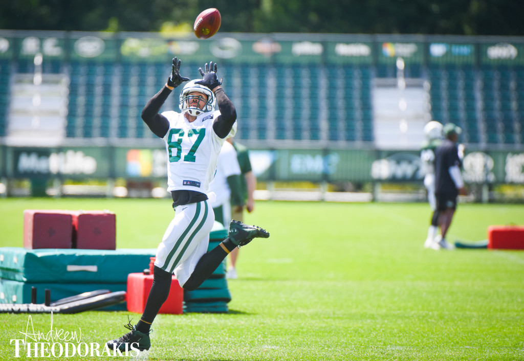 New York Jets wide receiver Eric Decker (87) at the practice facility in Florham Park on Thursday August 5th, 2015. by Andrew Theodorakis