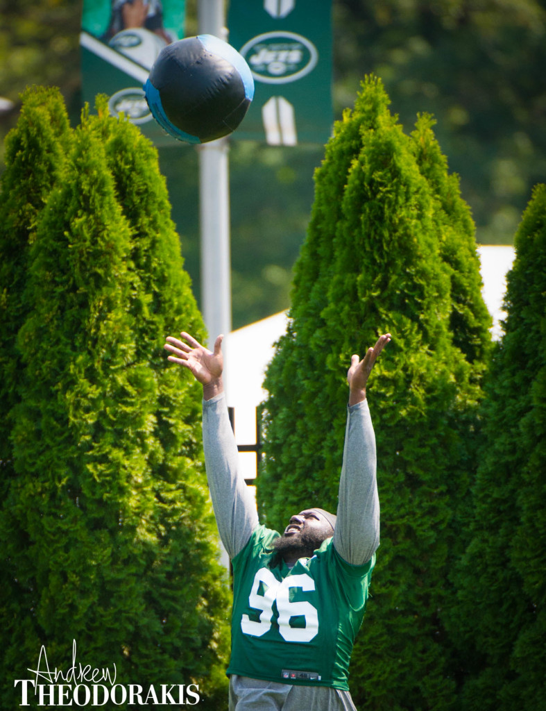 New York Jets defensive end Muhammad Wilkerson (96) during practice at Florham Park on Sunday August 18th, 2015. by Andrew Theodorakis